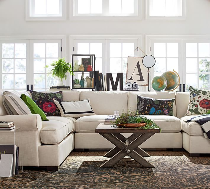 Townsend upholstered 4 piece sectional with chaise - Pottery barn living room furniture ...