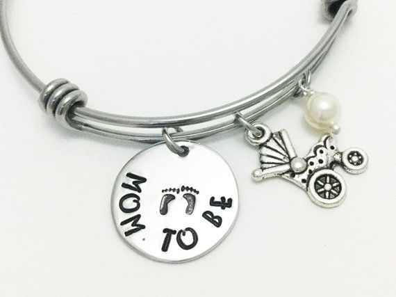 Expecting Mom Bracelet Pregnant Woman Jewelry Silverplated Expandable Bangle To Be Baby Carriage Charm Pearl Very