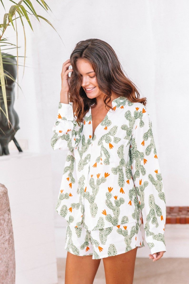 Maggie Pajama Set Long Sleeve Cactus Code P043 B Etsy Pajama Set Cactus Pajamas Long Sleeve And Shorts
