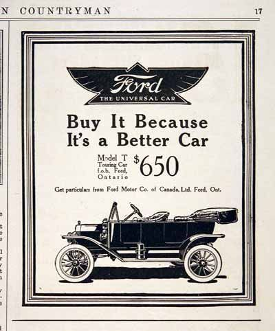 1914 Ford Model T Touring Car Original Vintage Advertisement Msrp