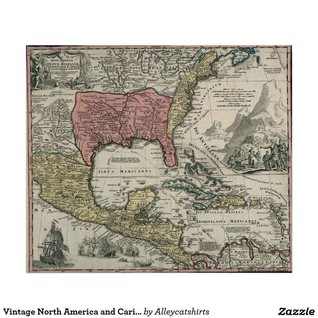 Vintage north america and caribbean map 1720 poster vintage vintage north america and caribbean map 1720 poster sciox Image collections