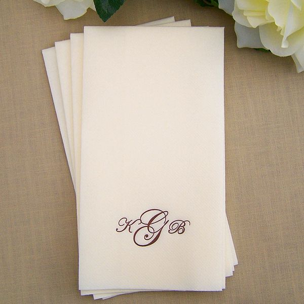 Personalized Disposable White Linen Look Guest Towels Paper