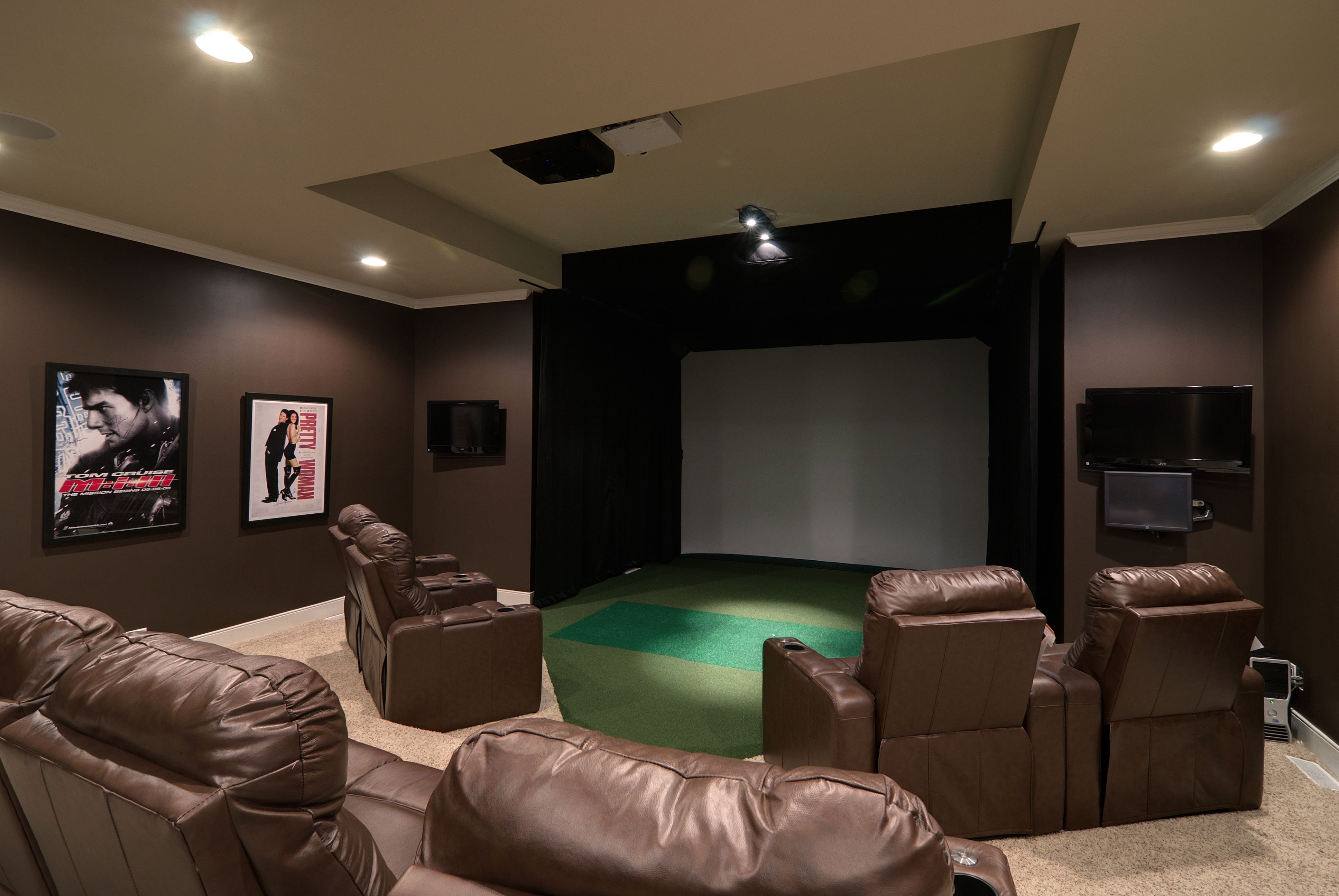 In Home Theater Projection Screen Recessed Lighting Carpet Flooring Tray Ceiling Detailed Trim Work On And