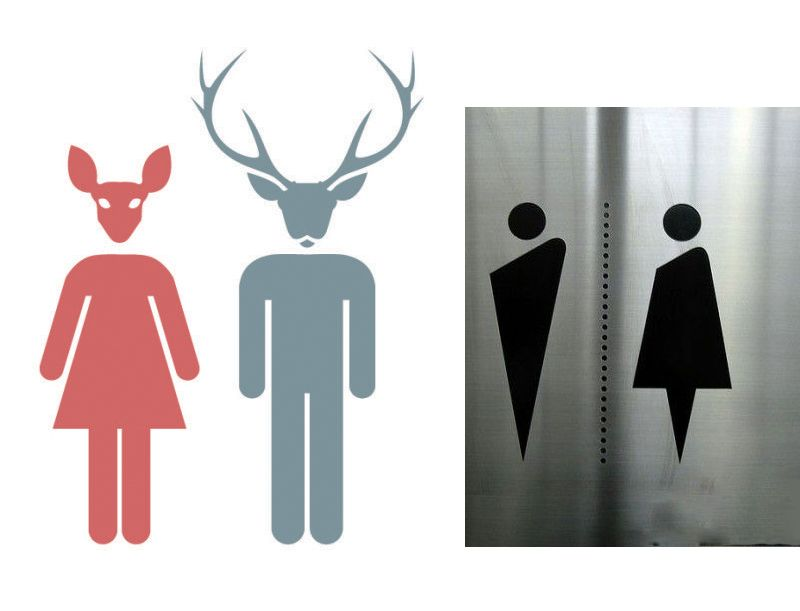 his and hers bathroom signs