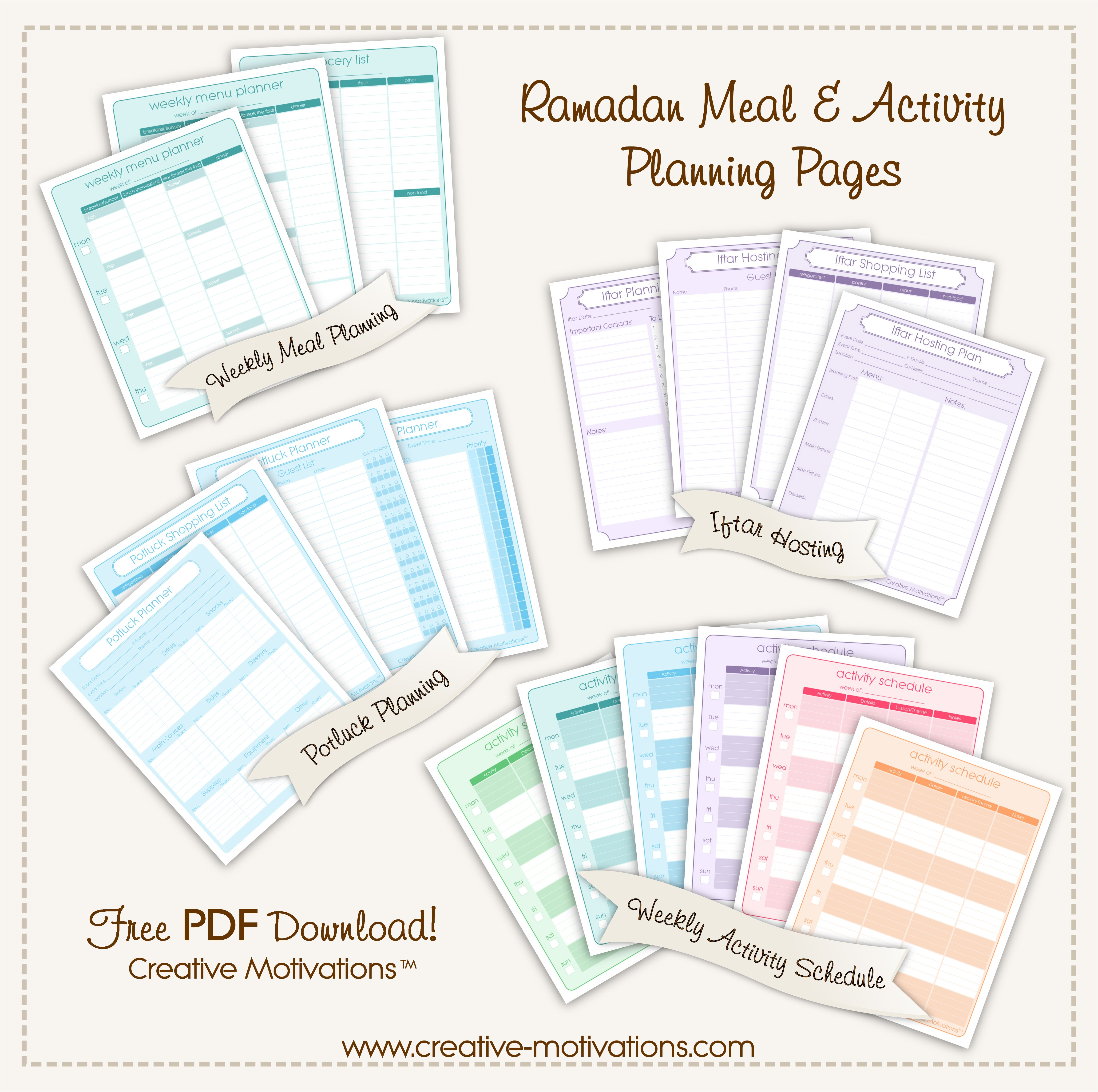 Ramadan Meal  Activity Planner Sample Advert  Home Management