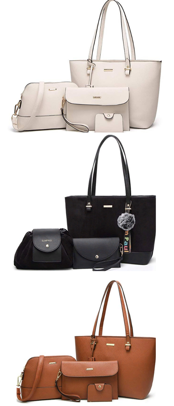 d57162fe7cab Women Fashion Handbags Tote Bag Shoulder Bag Top Handle Satchel Purse Set  4pcs