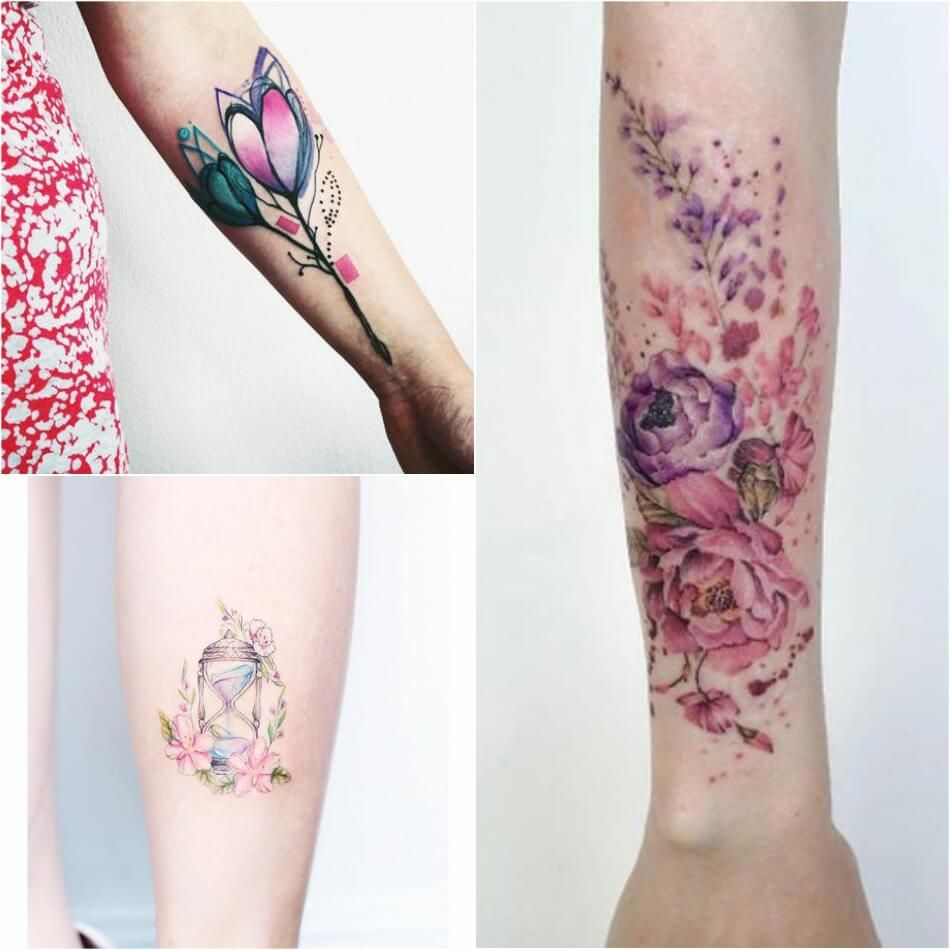 Women Who Prefer Big Colorful Tattoos Can Also Get Them In Using The Watercolor Technique B Feather Tattoo Colour Colorful Flower Tattoo Flower Tattoo Designs