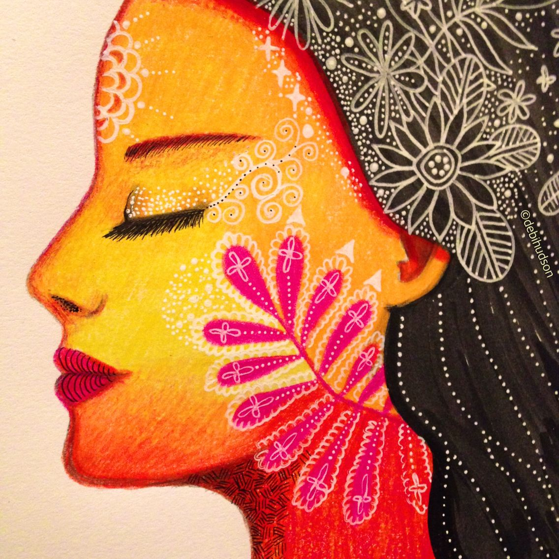 100 Days Of Faces Coloured Pencil Drawing By Debi Hudson