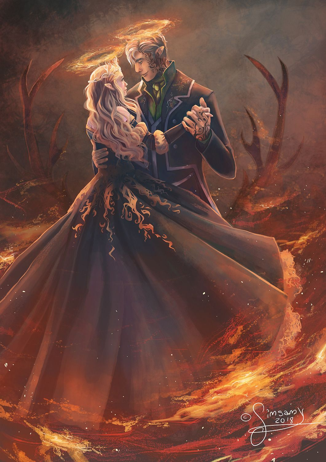 Aelin and Rowan ToG Art in 2019 t Throne of glass