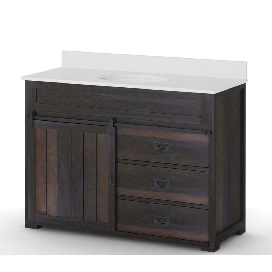 Style Selections Distressed Java 48 In Undermount Single Sink Bathroom  Vanity With Engineered Stone Top
