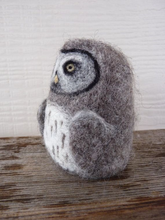 Needle felted grey owl sculpture by WillowandQuail on Etsy