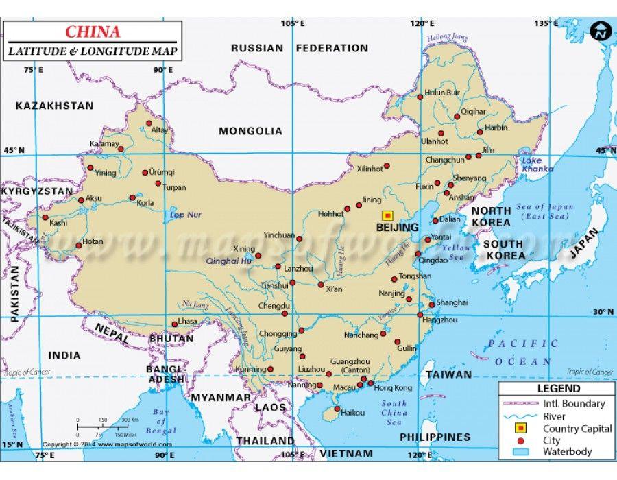 Buy China Latitude And Longitude Map With Images Latitude And