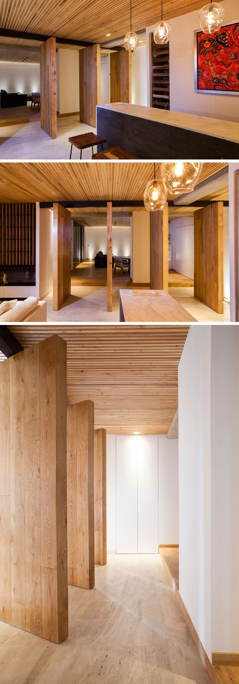 Living Room Wood Paneling Makeover: An Elegant Apartment With A Wood Slat Ceiling