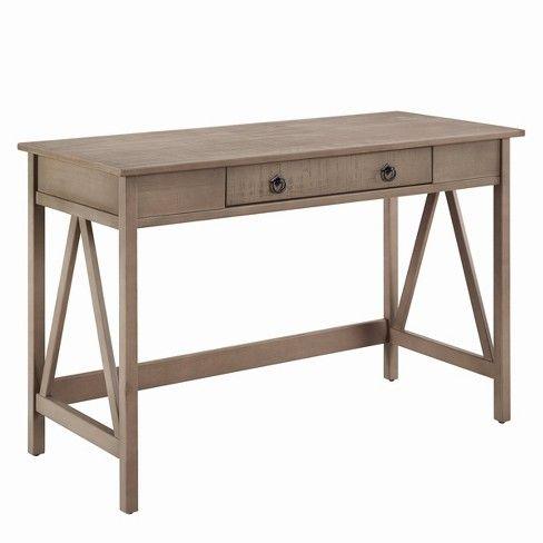 Titian Rustic Desk Driftwood Gray Linon Wood Writing Desk