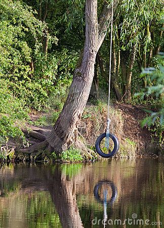Tyre rope swing hanging from a tree over a river on a for Swing over water