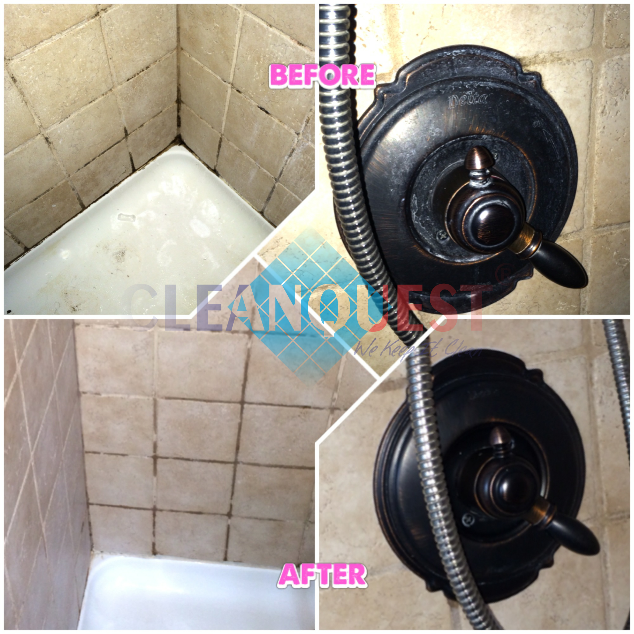 Here is one of most recent move-out cleaning by #CLEANQUEST; compare before and after photos of the shower. The shower grout is some what wet but looks very clean.