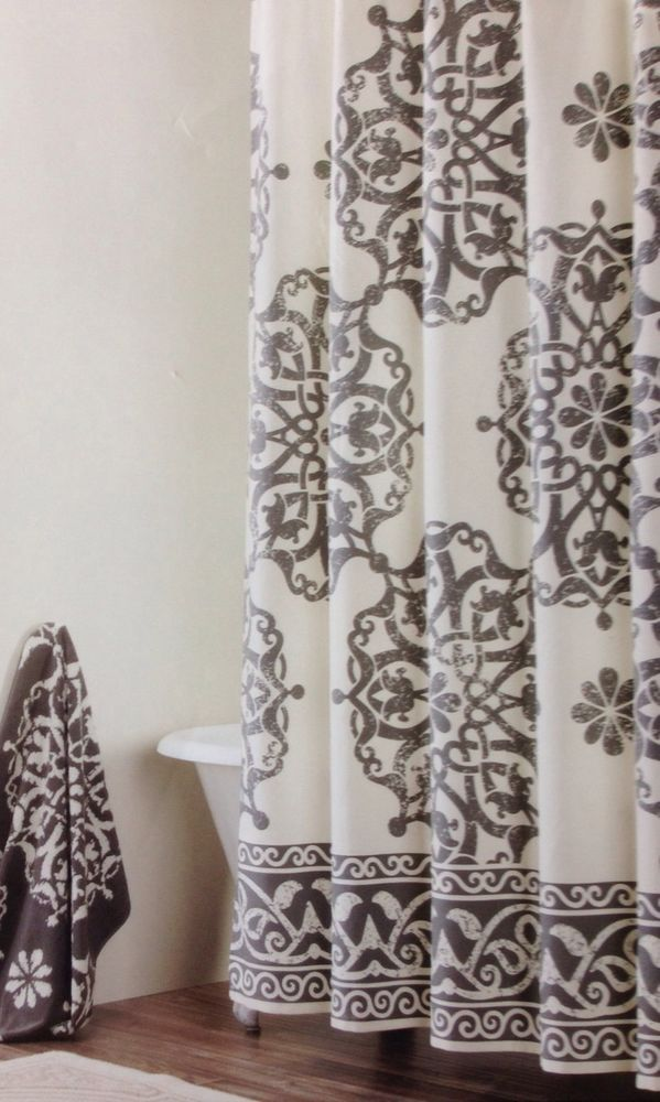 Tahari Home Collection Medallion Border Fabric Shower Curtain Grey