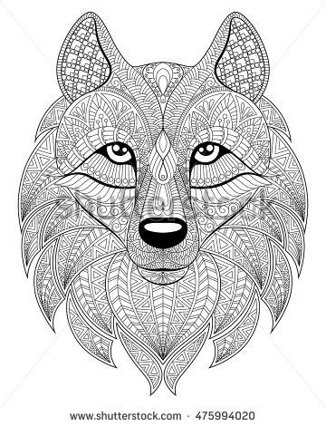 Wolf Head In Zentangle Style Adult Antistress Coloring Page Black And White Hand Drawn Doodle For Book Ethnic Pattern Ornament
