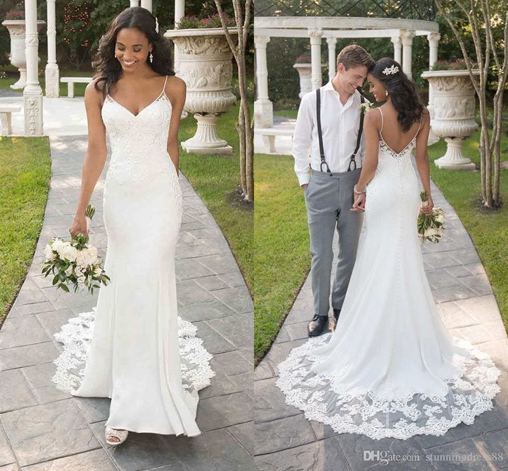 2021 Simple Cheap Mermaid Wedding Dresses With Straps Applique Country Court Train Backless Wedding Bridal Gowns Plus Size Real Photos From Stunningdress88 93 Backless Wedding Dress Mother Wedding Dress Wedding Dresses [ 950 x 1024 Pixel ]