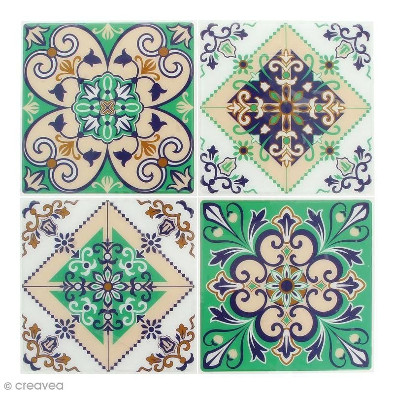 Stickers Mosaïque – Carré – Vert – 12 x 12 cm – 4 pcs – Tesselle mosaïque