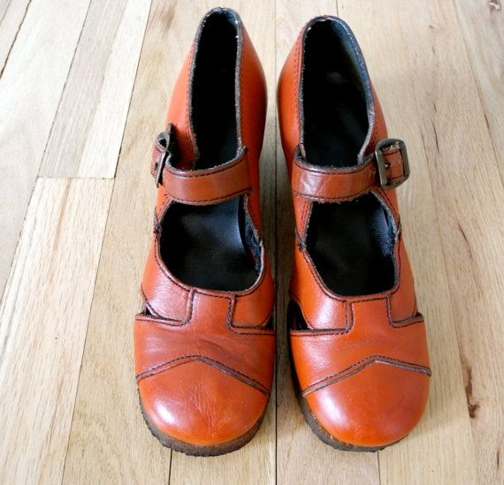 2fd113143 Adorable Vintage 1960's Burnt Orange Leather Mary Jane Shoes $62 ...