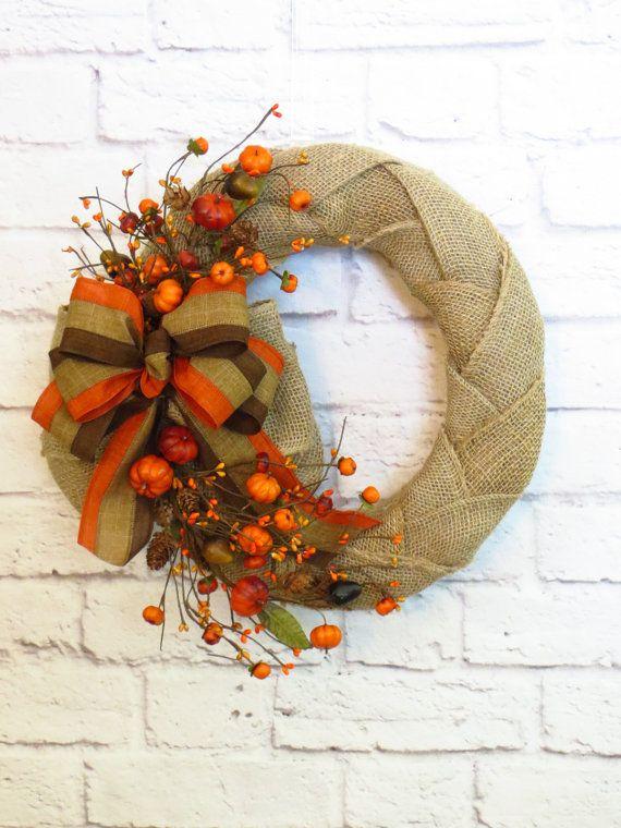 Photo of Fall Wreath, Autumn Wreath, Fall Burlap Wreath, Rustic Decor