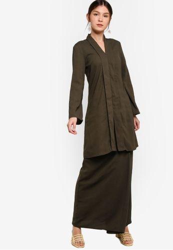 Baju Kebaya Labuh from ZALIA BASICS in Green - BAJU KURUNG MODEN