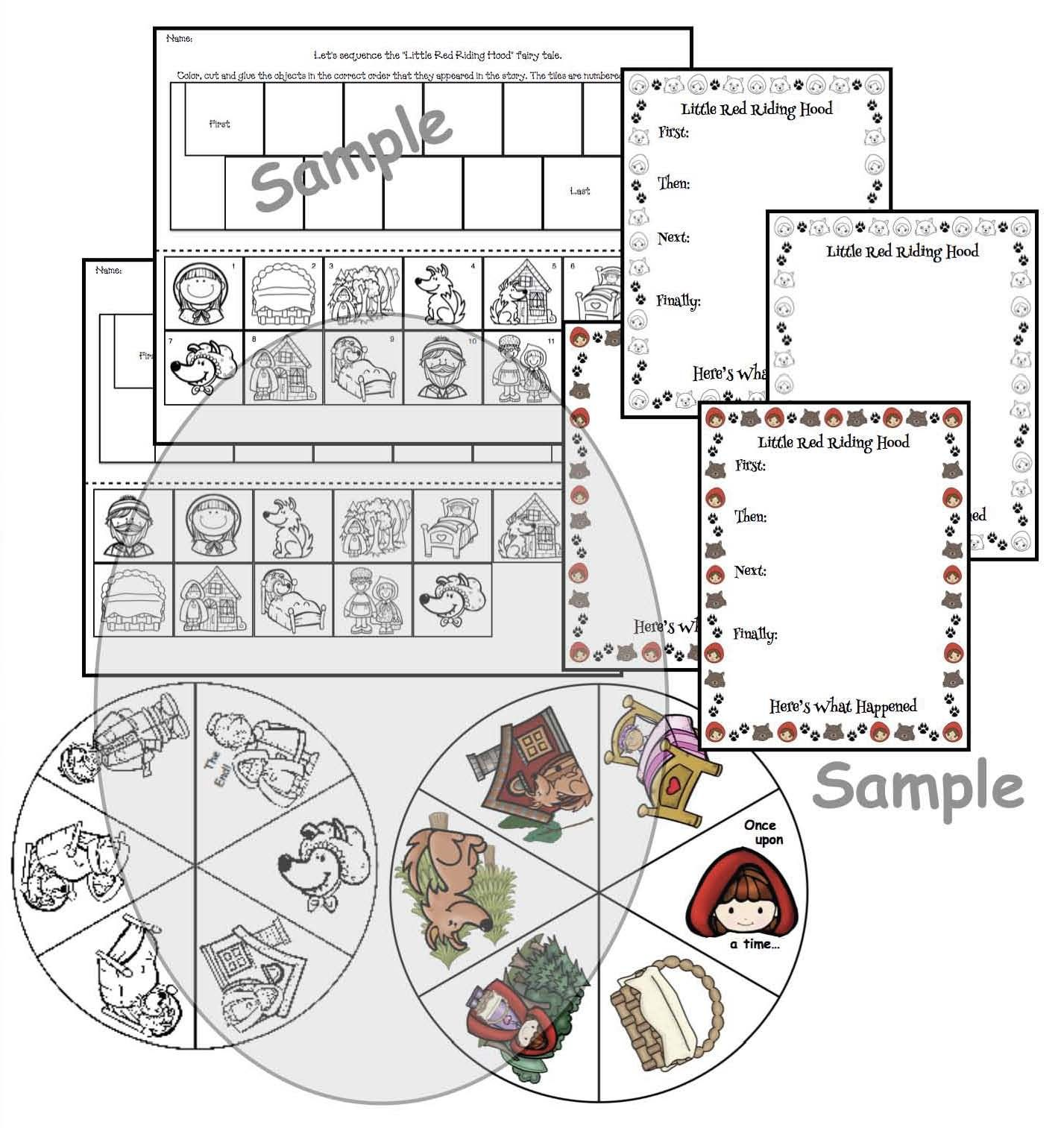 Little Red Riding Hood Fairy Tale Wheel Sequencing