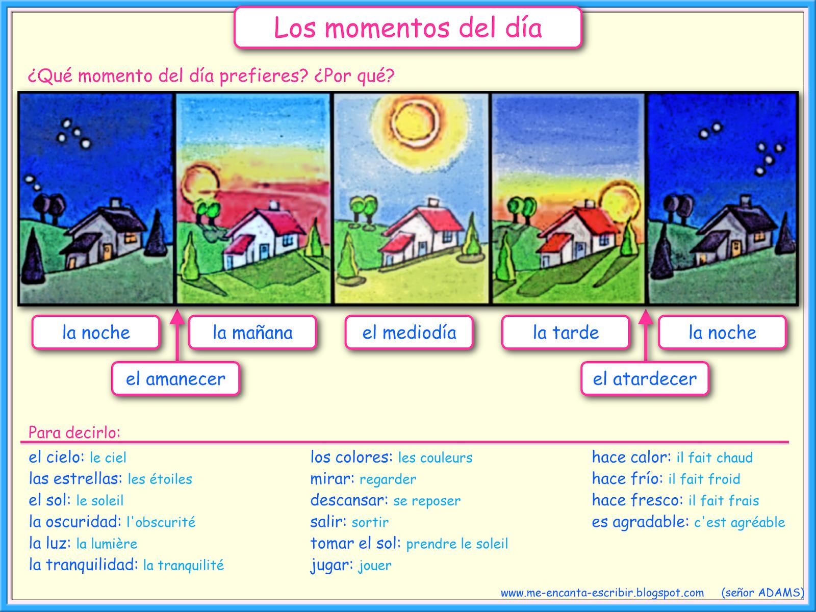 70d17e012e684316b5c9594e7e95903f me encanta escribir en español los momentos del dia clase de