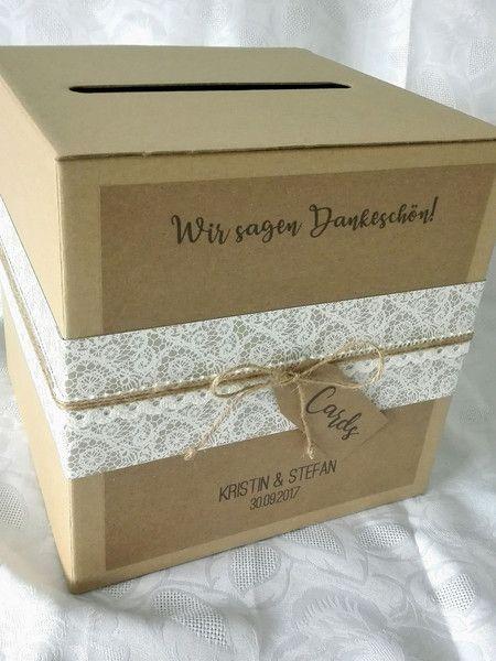 Geldgeschenke Briefbox Hochzeit Vintage Rustikal Spitzenmotiv