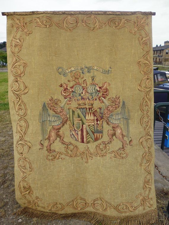Vintage Cotton Royal Heraldry Wall Hanging By Cosplayfabrics Heraldry Tapestry Weaving Vintage Cotton