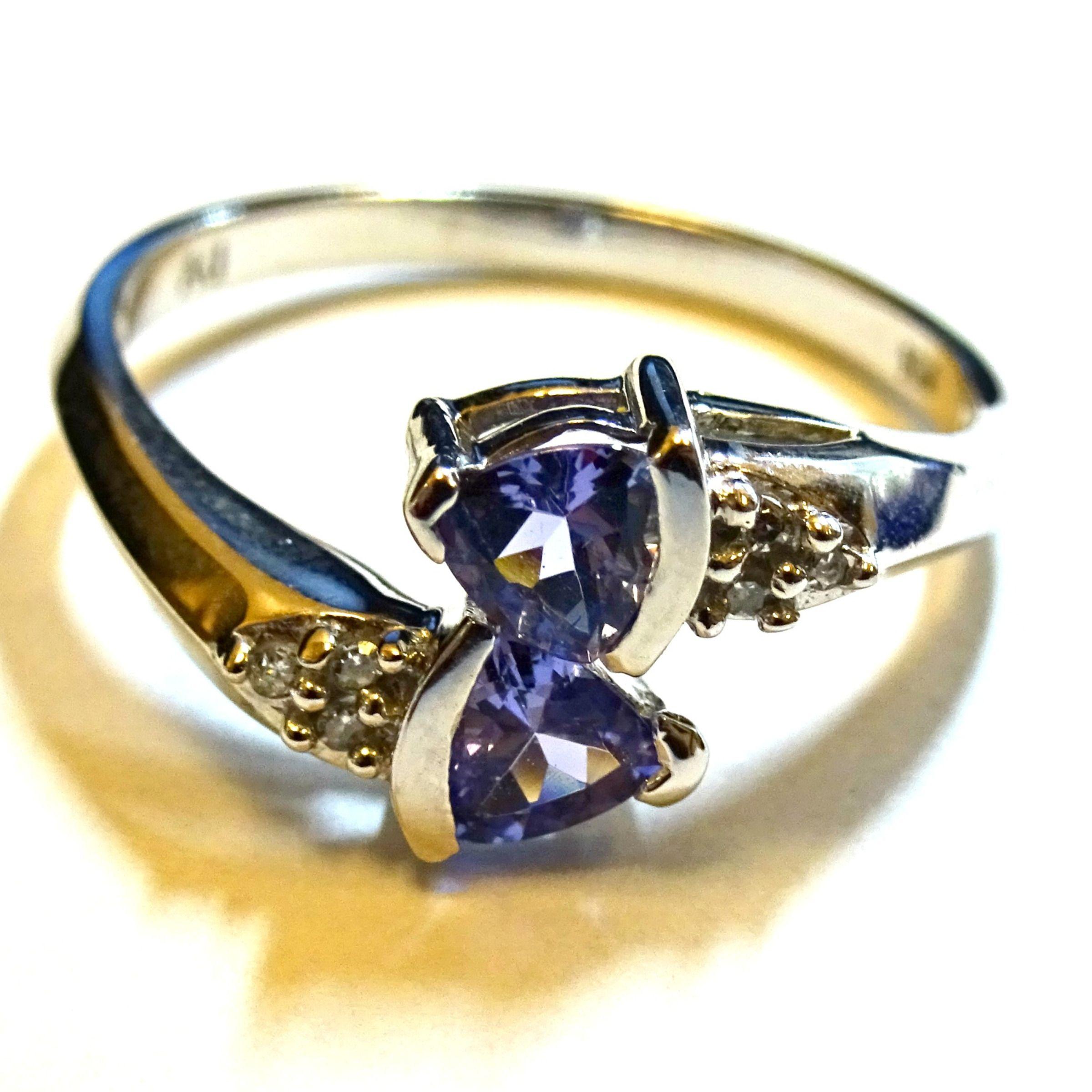 10k White Gold Blue Tanzanite Diamond Ring Size 7 Ebay Tanzanite Diamond Ring Tanzanite Diamond 10k Gold Ring