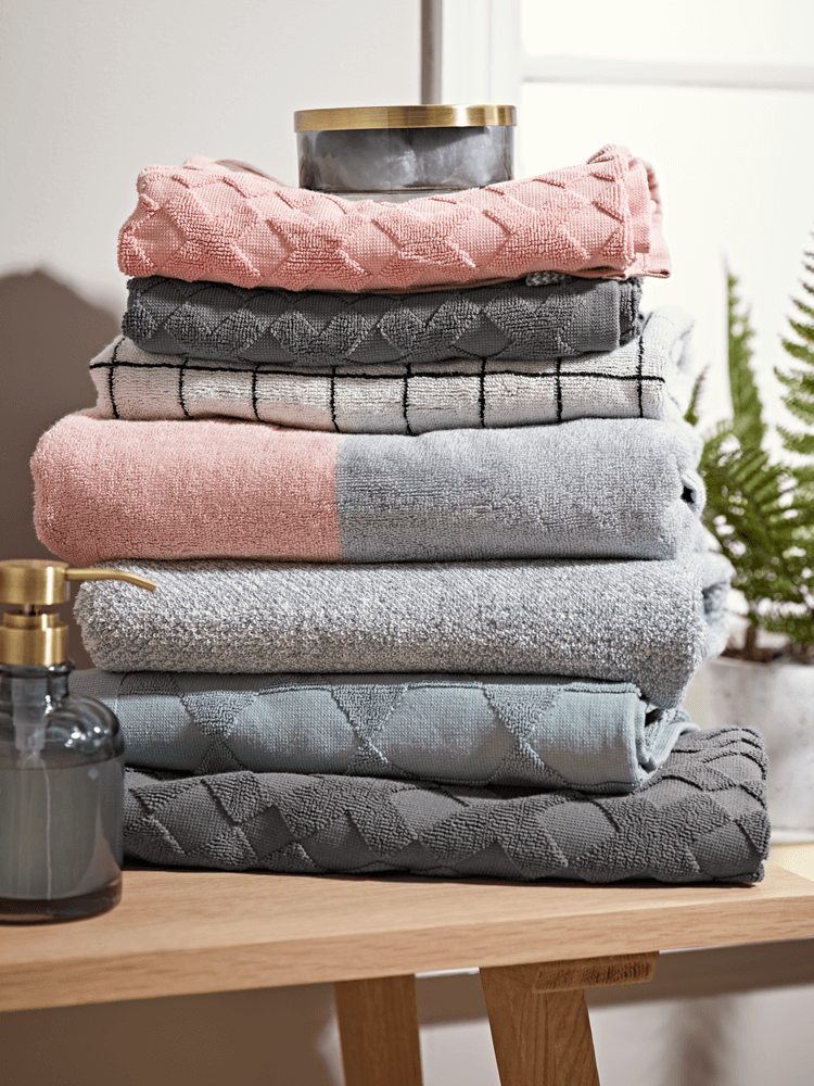 Blue Towels For Bathroom Small: NEW Two-Tone Towels - Grey And Blush