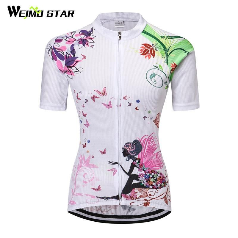 Weimostar Cycling Jersey 2018 Angel Women Cycling Clothing Summer  Breathable Short Bicycle Jersey mtb Bike Wear Clothes Ciclismo. 9282ab3d9