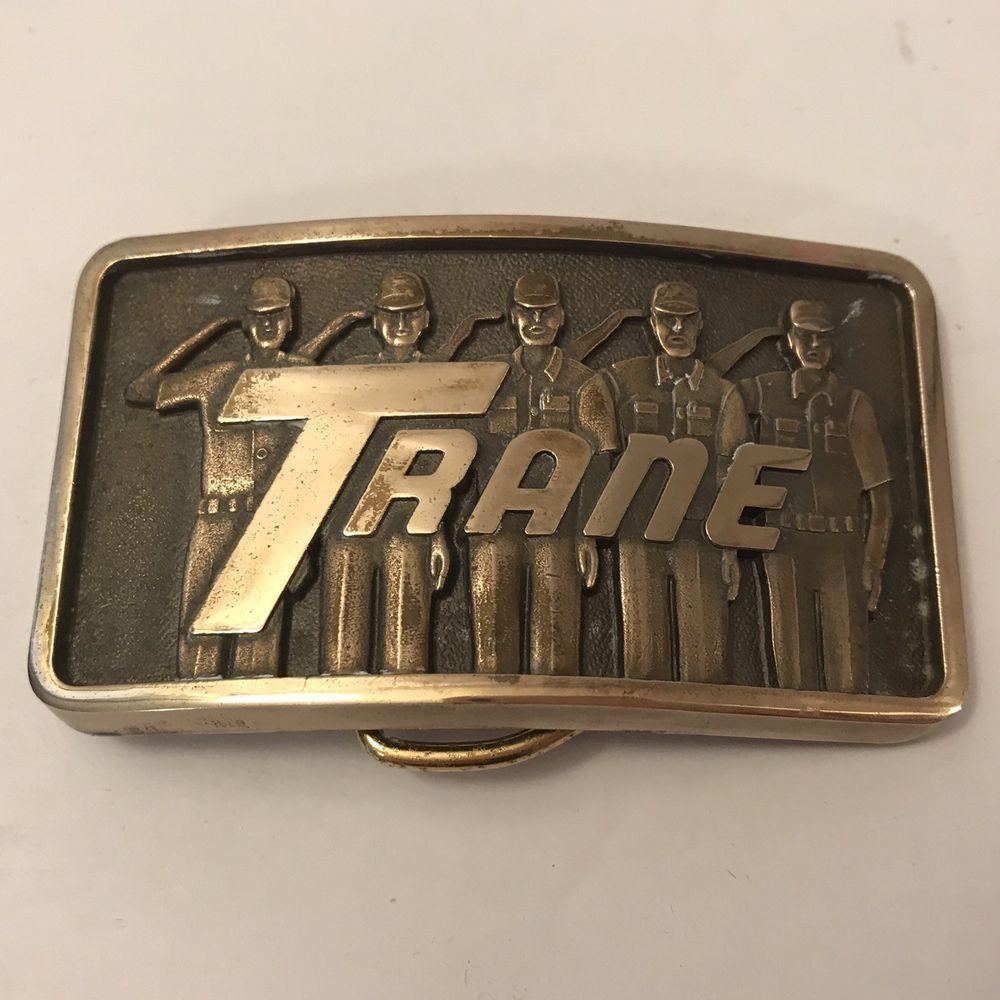 70b4df0f6 Vintage TRANE Heating Cooling Metal Belt Buckle Employees Saluting Hard To  Stop