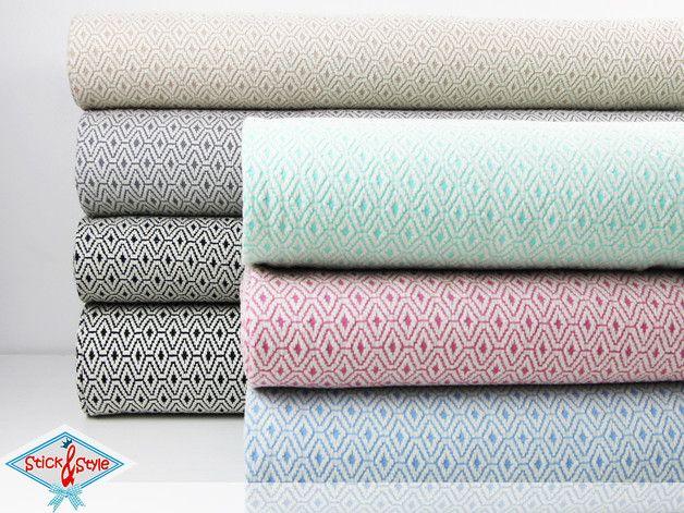 Jacquard Stoff mit schickem Rautenmuster / Jacquard fabric with cool ...