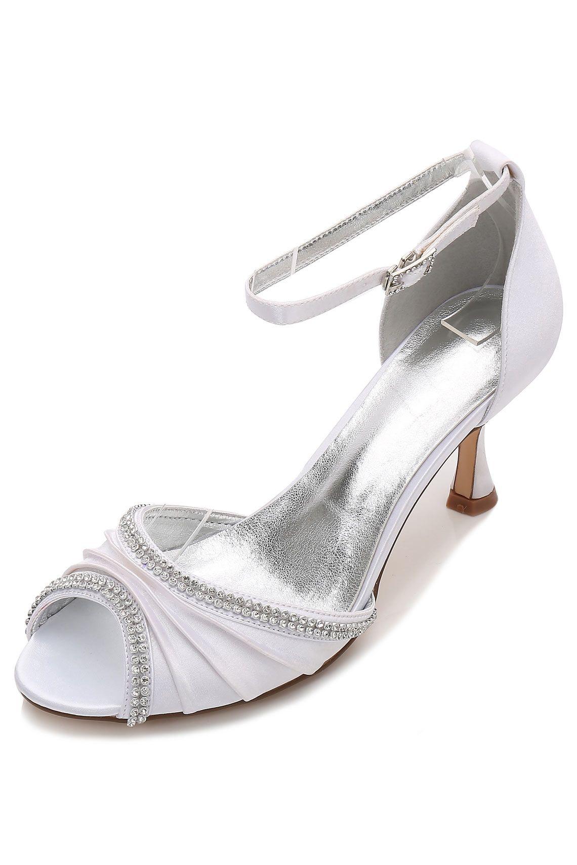 ee65abd360022 Sandale blanche à talon bout ouvert drapé avec strass pour soirée mariage