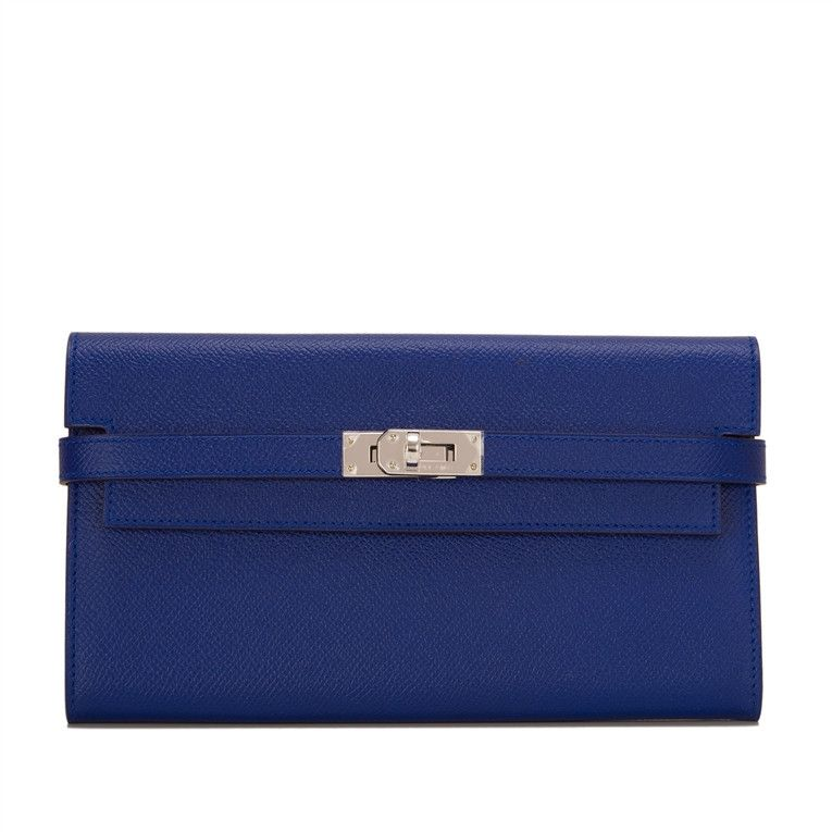 f147c8a657d Hermes Blue Electric Kelly Longue Wallet of epsom leather with palladium  hardware.