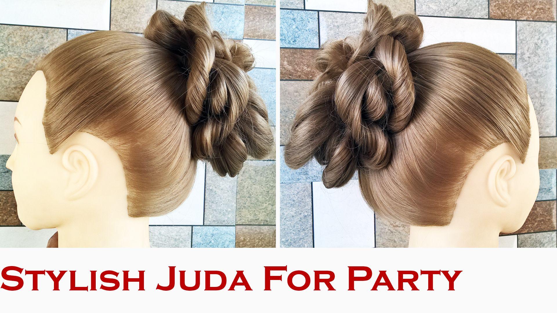 stylish and easy juda hairstyle, bridal bun hair style. juda