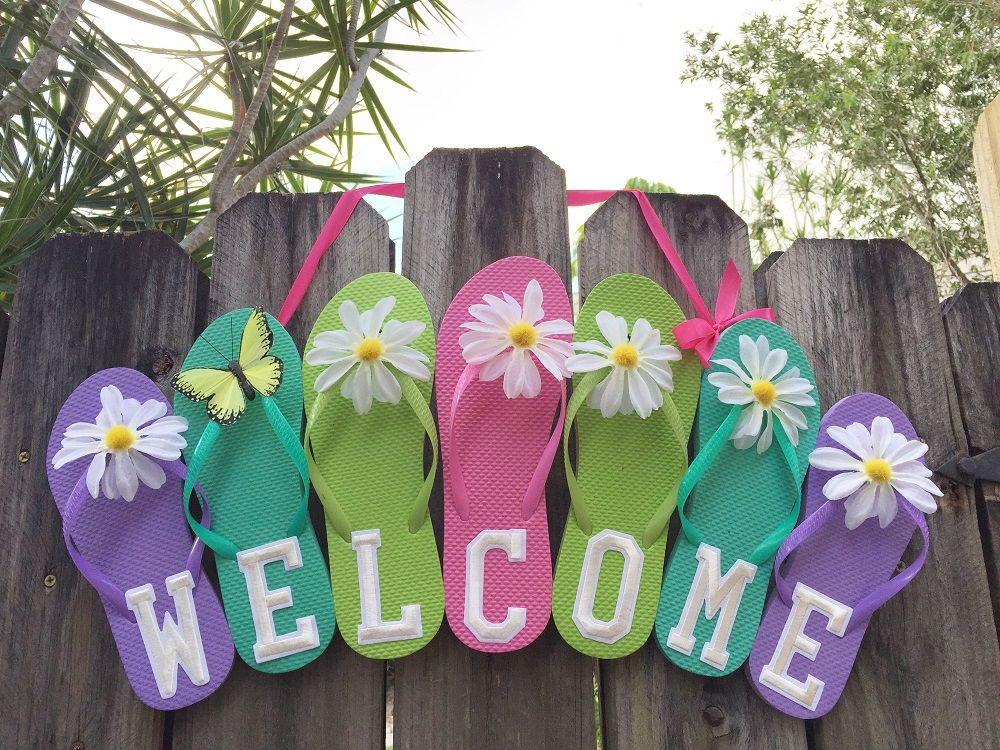 flip flop welcome sign diy crafts that i love On craft ideas for welcome signs