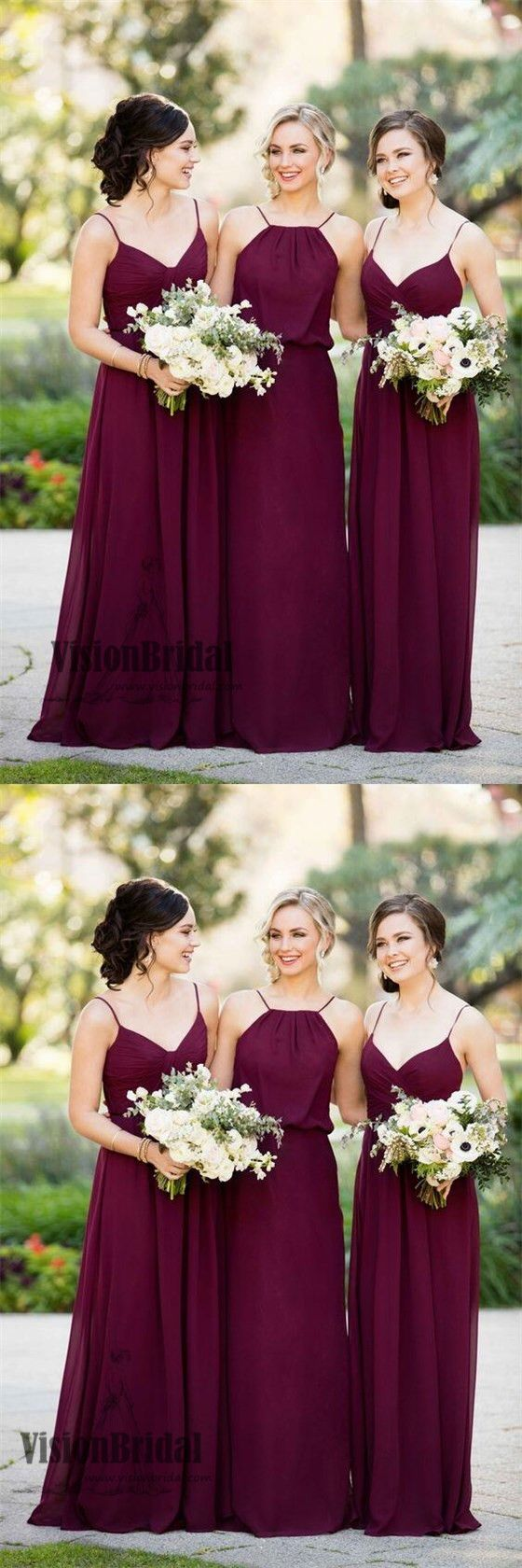 66d7cda9d1f 2018 Simple Charming Mismatched Spaghetti Straps Pleating A-Line Long  Chiffon Bridesmaid Dress