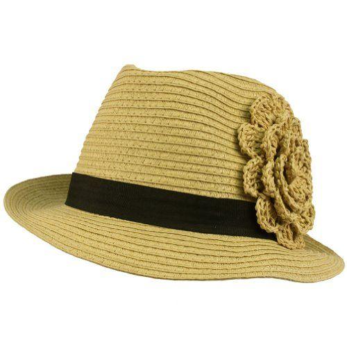 Summer Spring Flower Hatband Crushable Fedora Trilby Sun Hat Cap Natural 57cm $14.95