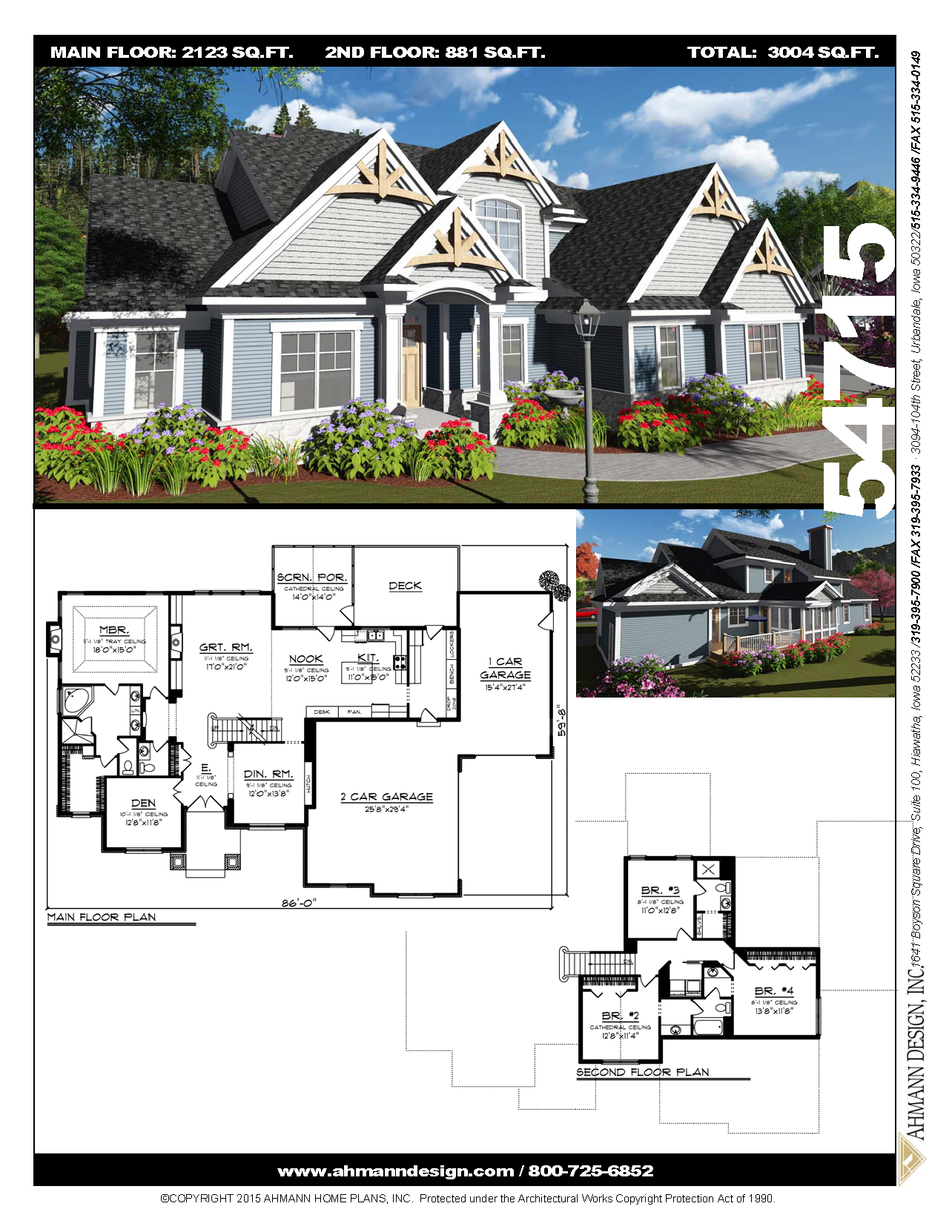 54715 Craftsman Style Homes Four Bedroom House Plans House Exterior