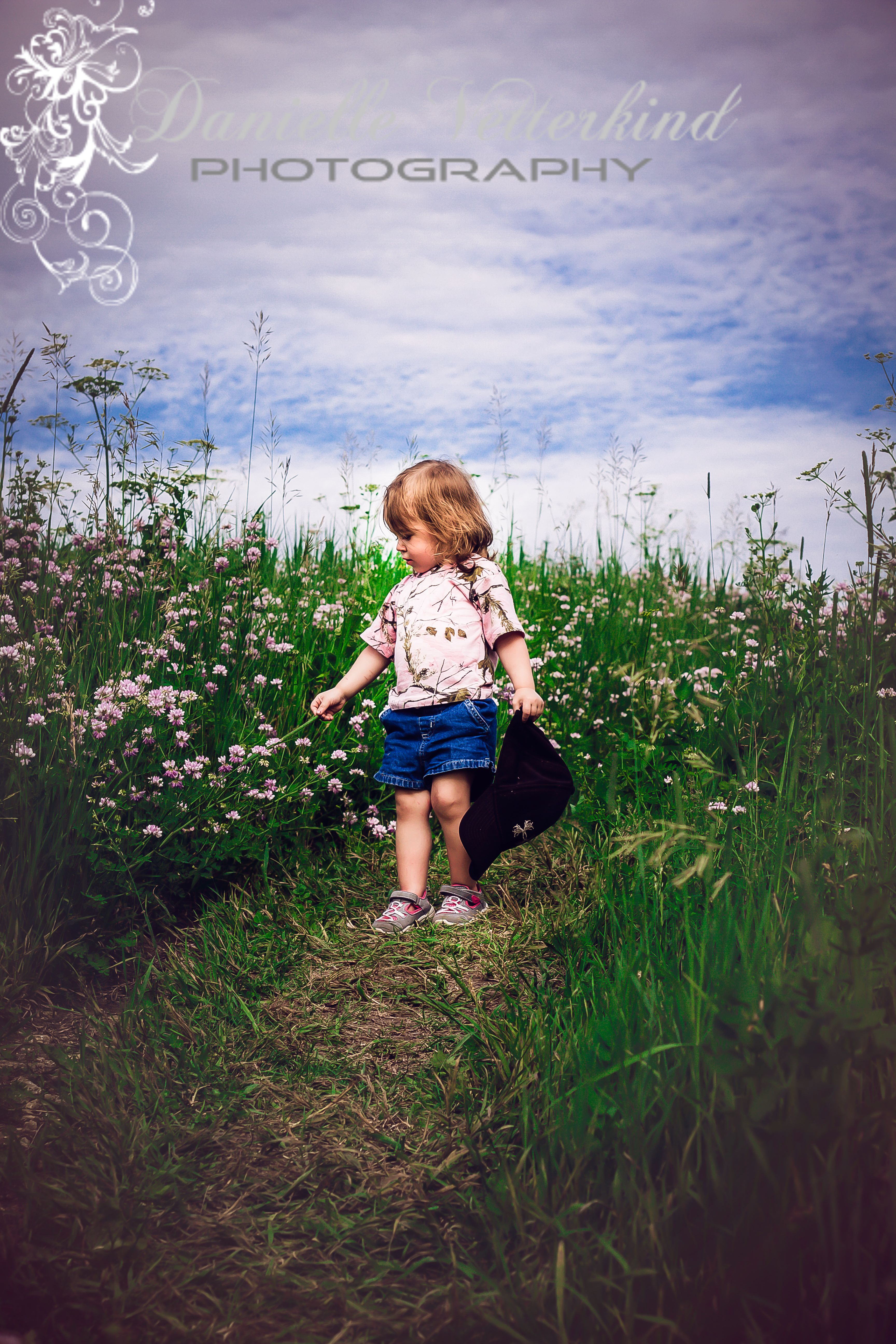 Little girl in a field of flowers photo by: danielle vetterkind photography
