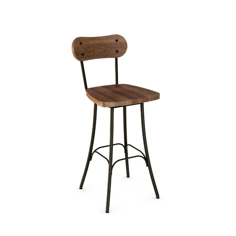 Rustic Wood And Metal 30 Inch Swivel Bar Stool Bean Bar Stools