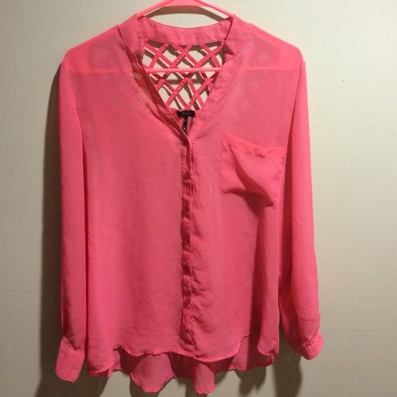Pink Blouse Pink button down blouse with caged upper back Nollie Tops Blouses