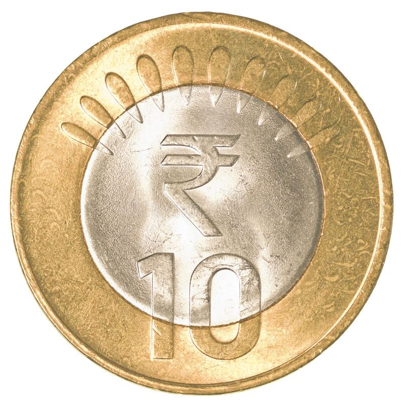 10 indian rupees coin. Isolated on white background , Ad
