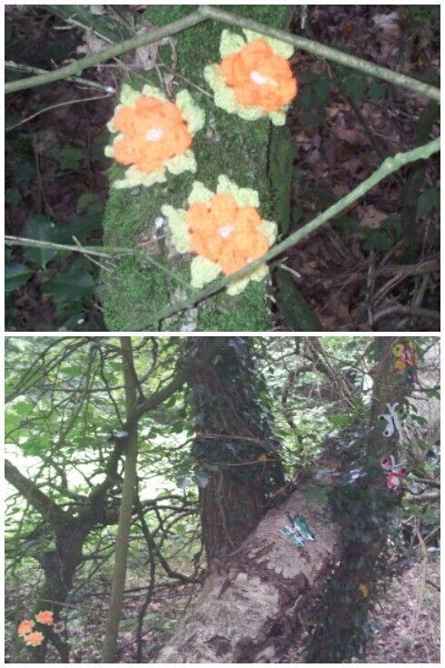 Valtherbos Emmen, yarn bombing tree, can art, 13 juli 2014