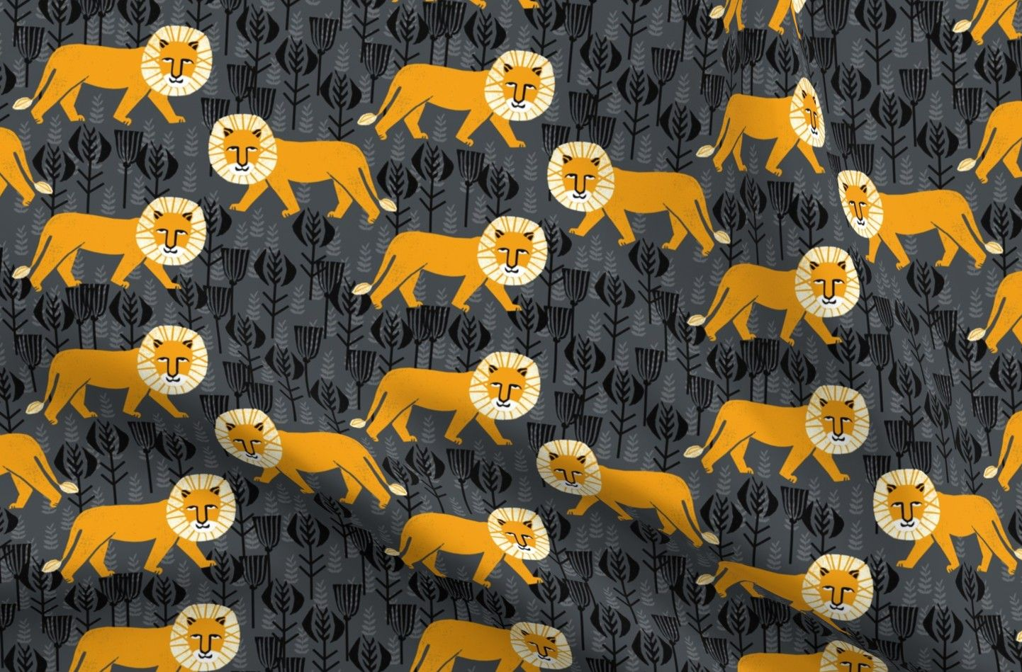 Linen Cotton Canvas Perfect for tablecloths, tea towels, dresses, bags, curtains and pillows. 55% linen, 45% cotton fabric with a versatile medium weight and textured feel. Fat Quarter Featured Print: Lion Animal Safari Block by Andrea Lauren