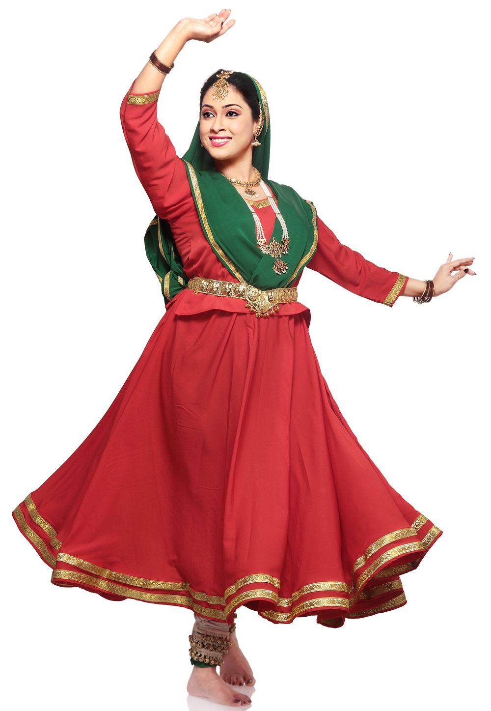 a40e6e8613ea Red and  Green Indian Classical Kathak Readymade Dance Costume Item ...